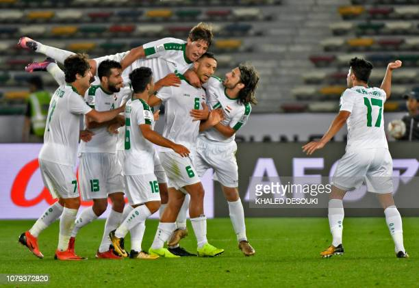 Iraq's defender Ali Adnan celebrates after scoring a goal during the 2019 AFC Asian Cup group D football match between Iraq and Vietnam at Zayed...