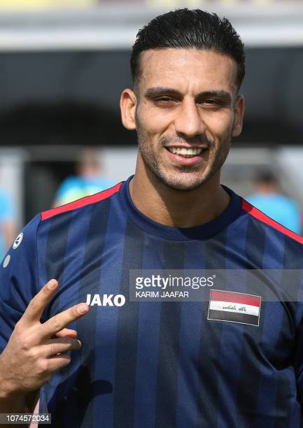 Iraq's defender Ali Adnan poses for a picture while attending a training session as the team prepares for the 2019 edition of the AFC Asian cup in...
