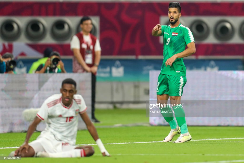 Iraq's forward Alaa Abbas celebrates after scoring during the 24th ...