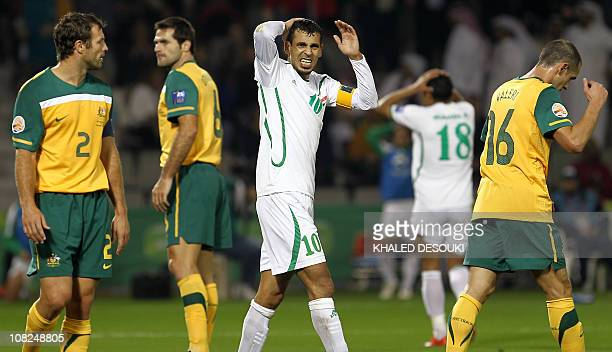 Iraq's forward Yunes Mahmud reacts after missing a chance to score during the 2011 Asian Cup quarterfinal football match between Australia and Iraq...