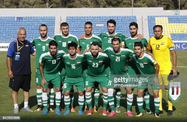Iraq's head coach Basim Qasim Hamdan alSuwaid Justin Hikmat Azeez Aymen Hussein Ali Adnan Kadhim Rebin Ghareeb Solaka Ahmed Ibrahim Mohammed Kassid...