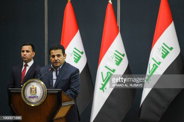Iraq's Interior Minister Qassim alAraji speaks during a gathering with tribal leaders in the capital Baghdad on July 17 calling upon them to calm...