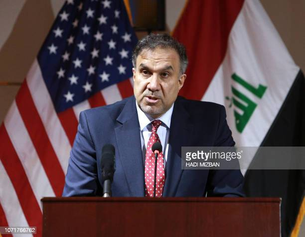 Iraq's Minister of Electricity Luay alKhateeb speaks during a joint press conference in the Iraqi capital Baghdad on December 11 2018