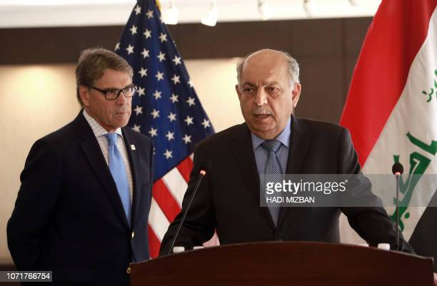 Iraq's Minister of Oil Thamir alGhadhban speaks during a joint press conference with US Energy Secretary Rick Perry in the Iraqi capital Baghdad on...