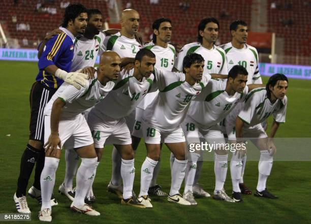 Iraq's national football team players pose before their match against Bahrain during the 19th Gulf Cup soccer tournament in Muscat on January 4 2009...