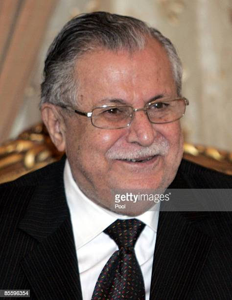 Iraq's President Jalal Talabani during his meeting with Syrian Foreign Minister Walid alMoallem on March 25 2009 in Baghdad Iraq AlMoallem voiced his...