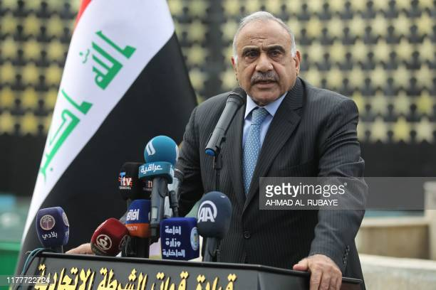 Iraq's Prime Minister Adel Abdel Mahdi speaks during a symbolic funeral ceremony in Baghdad on October 23, 2019 for Major General Ali al-Lami, a...