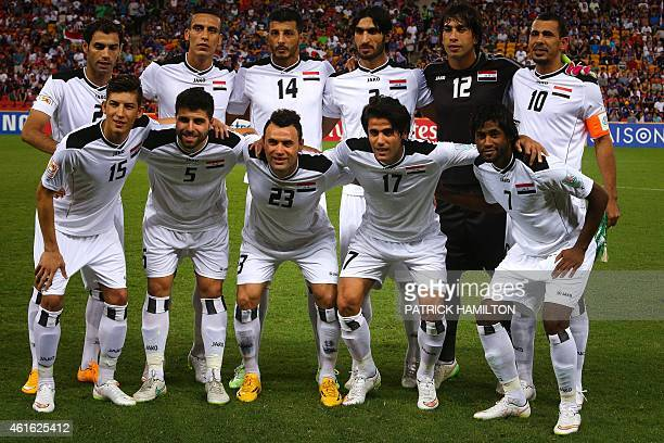 Iraq's team poses before the first round Asian Cup football match between Japan and Iraq at the Suncorp Stadium in Brisbane on January 16 2015 AFP...