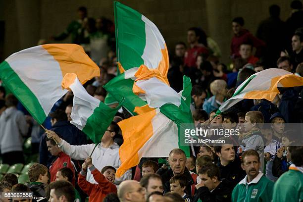 Irealand fans waving flags and celebrating one their team's goals at Aviva Stadium in Dublin as the Republic of Ireland take on Northern Ireland in a...