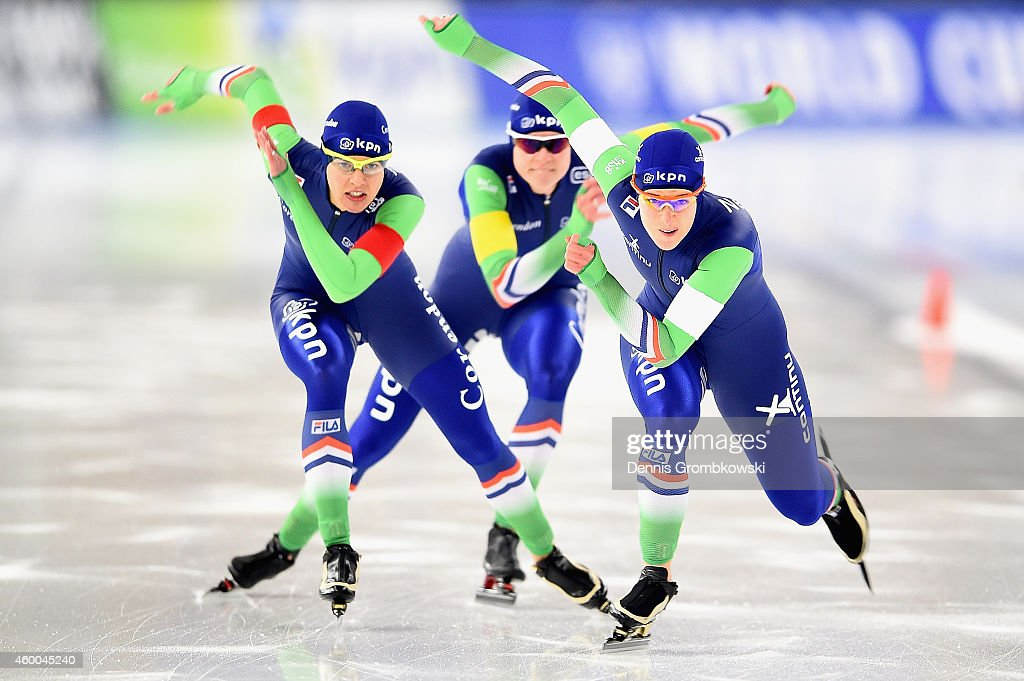 Ireen Wuest, Marrit Leenstra and Marije Jong of Netherlands compete in the Ladies' Team Pursuit event during Day 2 of the Essent ISU World Cup Speed Skating at Sportforum Hohenschoenhausen on December 6, 2014 in Berlin, Germany.