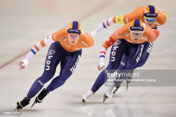 Ireen Wust Joy Beune and Lotte Van Beek of Netherlands compete during the Women's Team Pursuit on day one of the ISU World Cup Speed Skating at Meiji...