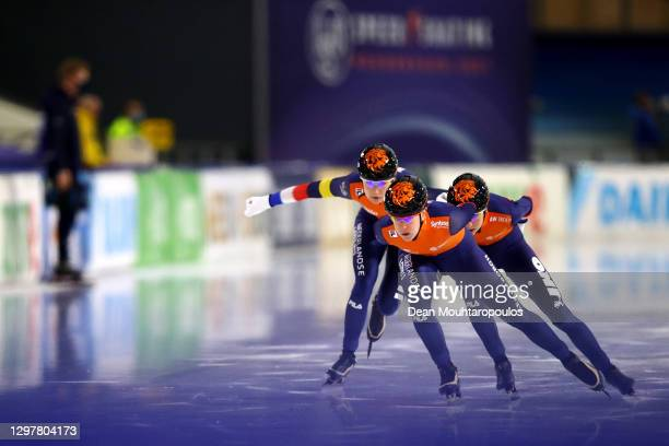 Ireen Wust, Melissa Wijfje and Carlijn Achtereekte of Netherlands compete in the Team Pursuit Women during the ISU World Cup Speed Skating at Thialf...