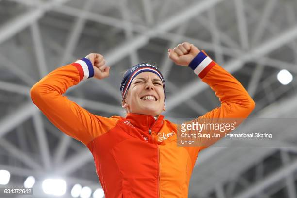 Ireen Wust of Netherlands celebrates on the podium during the medal ceremony in the Ladies 3000m during the ISU World Single Distances Speed Skating...