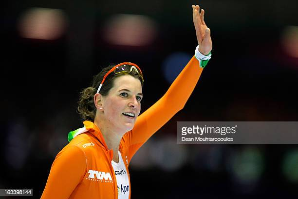 Ireen Wust of Netherlands celebrates winning the 3000m Ladies race on Day 2 of the Essent ISU World Cup Speed Skating Championships 2013 at Thialf...