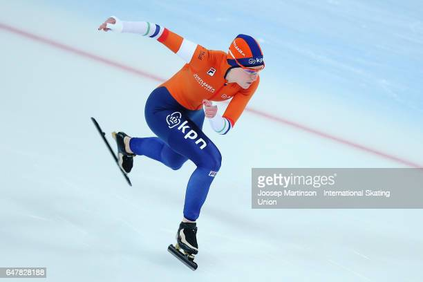 Ireen Wust of Netherlands competes in the Ladies 500m during World Allround Speed Skating Championships at Viking Skipet Hamar Olympic Hall on March...
