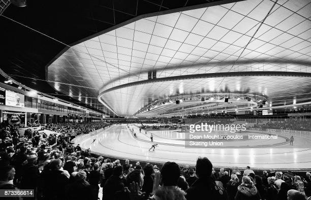 Ireen Wust of the Netherlands and Martina Sablikova of the Czech Republic compete in the 3000m Womens race on day three during the ISU World Cup...