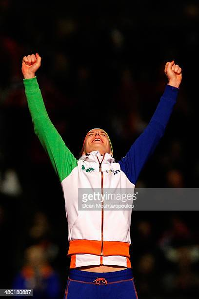 Ireen Wust of The Netherlands celebrates after winnning the overall standings during day two of the Essent ISU World Allround Speed Skating...
