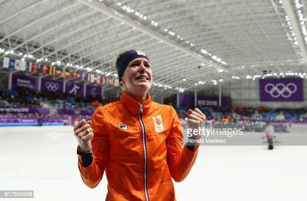 Ireen Wust of The Netherlands celebrates winning the gold medal during the Ladies 1500m Long Track Speed Skating final on day three of the...
