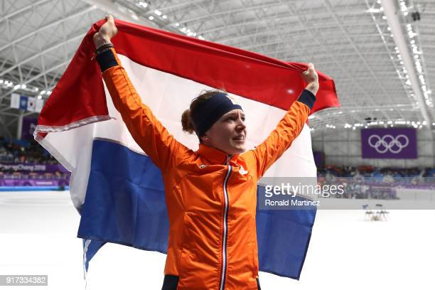 Ireen Wust of The Netherlands celebrates winning the gold medal during the Ladies 1,500m Long Track Speed Skating final on day three of the...