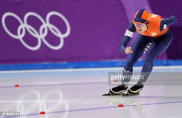 Ireen Wust of the Netherlands competes during the Ladies' 1000m Speed Skating on day five of the PyeongChang 2018 Winter Olympics at Gangneung Oval...