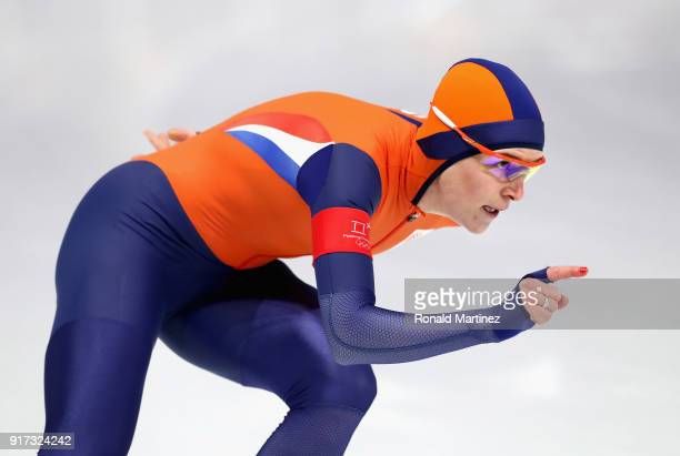Ireen Wust of The Netherlands competes during the Ladies 1,500m Long Track Speed Skating final on day three of the PyeongChang 2018 Winter Olympic...