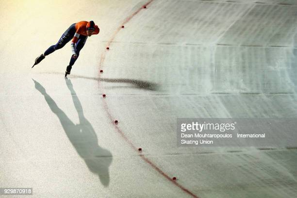 Ireen Wust of the Netherlands competes in the 3000m Ladies race during the World Allround Speed Skating Championships at the Olympic Stadium on March...