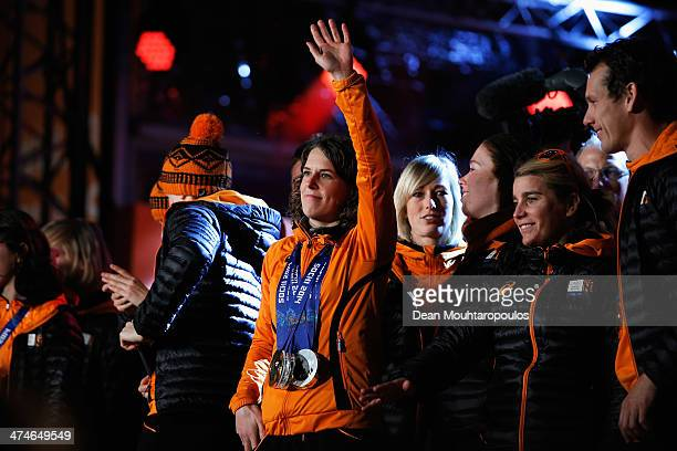 Ireen Wust of The Netherlands team celebrates on the main stage during the Welcome Home Reception Held For Dutch Winter Olympic Athletes on February...
