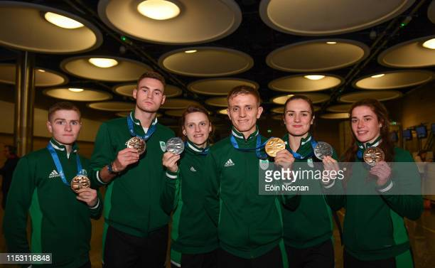 Ireland 1 July 2019 Team Ireland boxers from left Regan Buckley Michael Nevin Michaela Walsh Kurt Walker Kellie Harrington and Gráinne Walsh with...