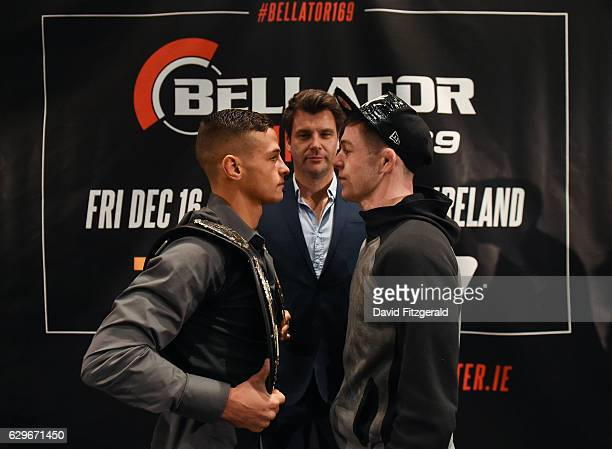 DUB Ireland 14 December 2016 Tom Duquesnoy left and Alan Philpot square off following the Bellator 169 BAMMA 27 Press Conference in The Gibson Hotel...