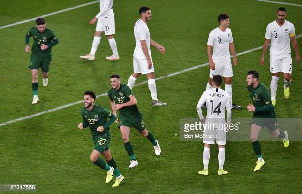 Ireland 14 November 2019 Derrick Williams of Republic of Ireland celebrates after scoring his side's first goal with teammates Sean Maguire Troy...