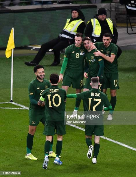 Ireland 14 November 2019 Republic of Ireland players celebrates after their side's second goal scored by Sean Maguire during the 3 International...
