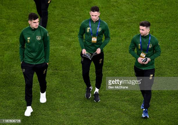 Ireland 14 November 2019 Republic of Ireland players from left John Egan Alan Browne and Sean Maguire ahead of the International Friendly match...