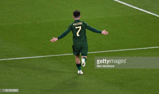 Ireland 14 November 2019 Sean Maguire of Republic of Ireland celebrates after scoring his side's second goal during the 3 International Friendly...