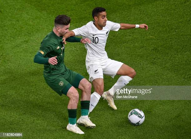 , Ireland - 14 November 2019; Sean Maguire of Republic of Ireland and Sarpreet Singh of New Zealand during the International Friendly match between...