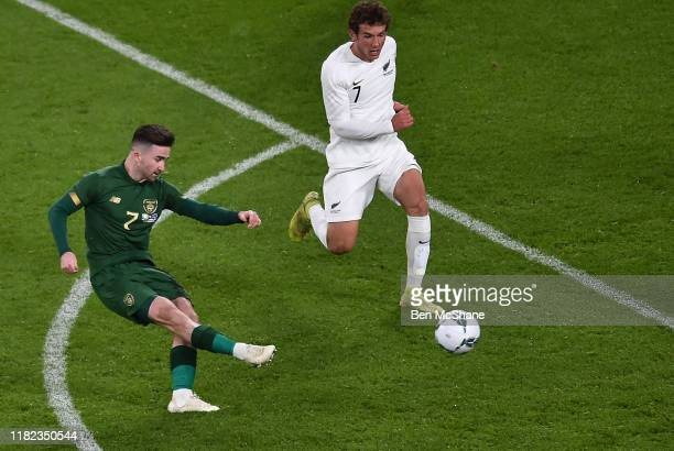 Ireland 14 November 2019 Sean Maguire of Republic of Ireland shoots to score his side's second goal during the 3 International Friendly match between...