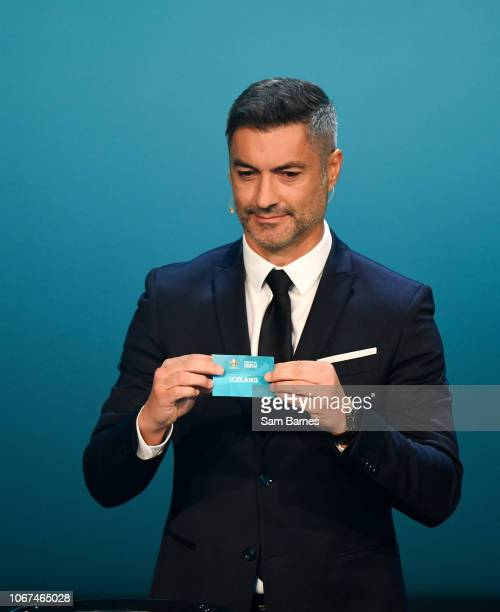 Ireland 2 December 2018 Former Portugal international Vítor Baía draws out Iceland during the UEFA EURO2020 Qualifying Draw at the Convention Centre...