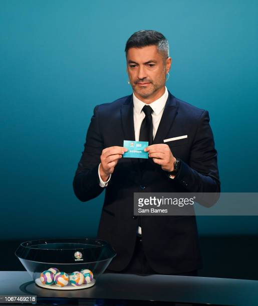 Ireland 2 December 2018 Former Portugal international Vítor Baía draws out Georgia during the UEFA EURO2020 Qualifying Draw at the Convention Centre...