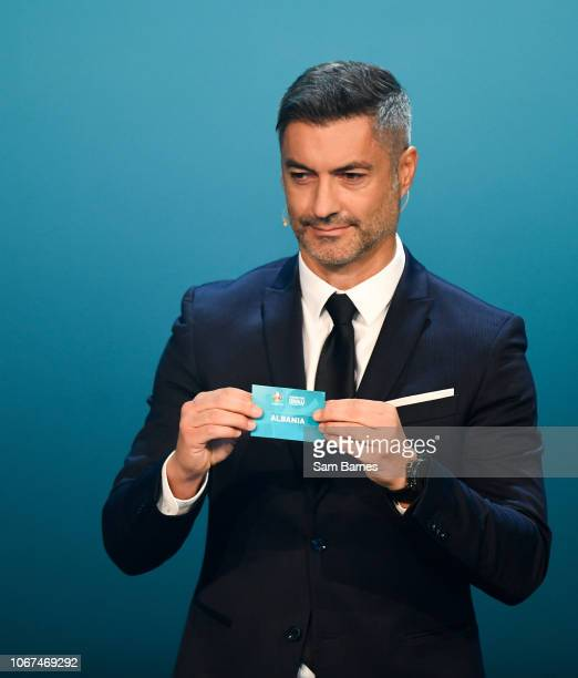 Ireland 2 December 2018 Former Portugal international Vítor Baía draws out Albania during the UEFA EURO2020 Qualifying Draw at the Convention Centre...