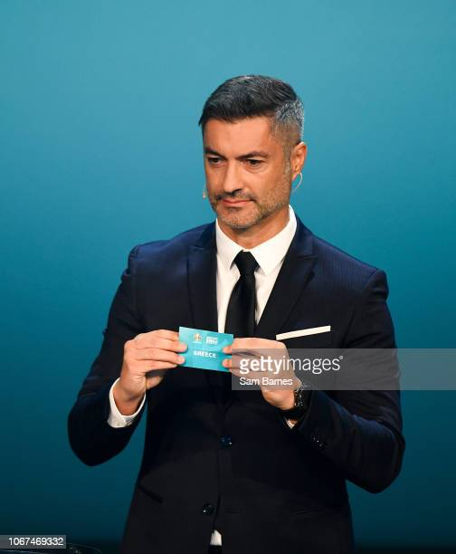 Ireland 2 December 2018 Former Portugal international Vítor Baía draws out Greece during the UEFA EURO2020 Qualifying Draw at the Convention Centre...