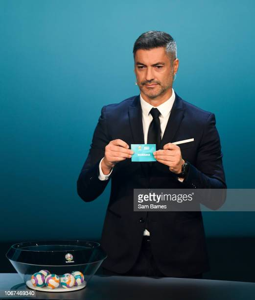 Ireland 2 December 2018 Former Portugal international Vítor Baía draws out during the UEFA EURO2020 Qualifying Draw at the Convention Centre in Dublin