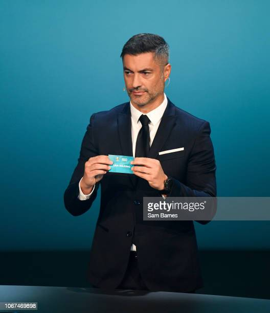 Ireland 2 December 2018 Former Portugal international Vítor Baía draws out San Marino during the UEFA EURO2020 Qualifying Draw at the Convention...
