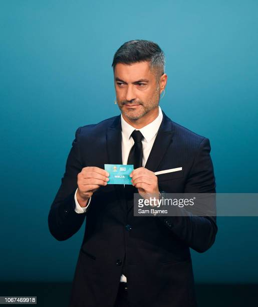 Ireland 2 December 2018 Former Portugal international Vítor Baía draws out Malta during the UEFA EURO2020 Qualifying Draw at the Convention Centre in...