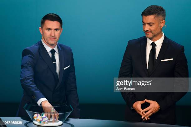 Ireland 2 December 2018 Republic of Ireland assistant coach Robbie Keane left and Former Portugal international Vítor Baía during the UEFA EURO2020...