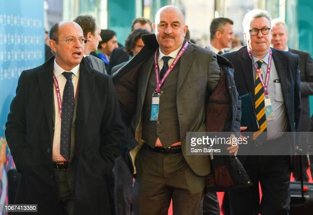 Ireland 2 December 2018 Russia head coach Stanislav Cherchesov centre arrives prior to the UEFA EURO2020 Qualifying Draw at the Convention Centre in...