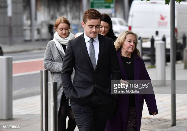 Ireland and Ulster rugby player Paddy Jackson arrives at court with family members at Belfast Magistrates Court relating to a rape charge hearing on...