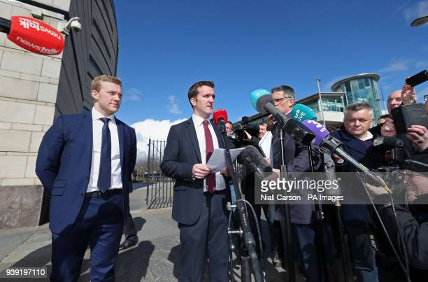 Ireland and Ulster rugby player Stuart Olding and his solicitor Paul Dougan outside Belfast Crown Court after he has been found not guilty of raping...