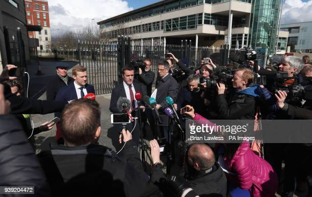Ireland and Ulster rugby player Stuart Olding and his solicitor Paul Dougan speaking outside Belfast Crown Court after he has been found not guilty...