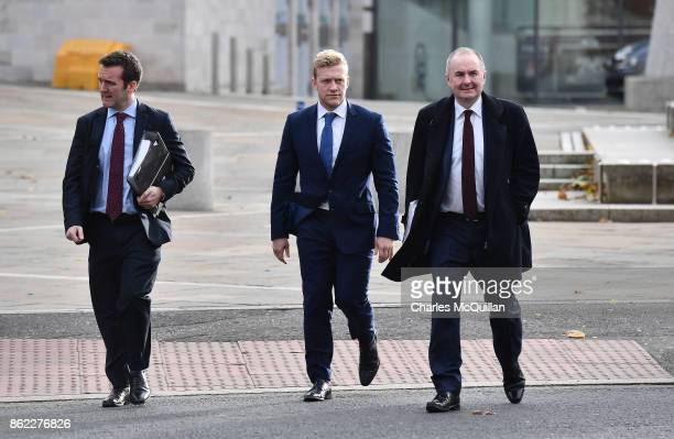 Ireland and Ulster rugby player Stuart Olding arrives at court with his legal advisors at Belfast Magistrates Court relating to a rape charge hearing...