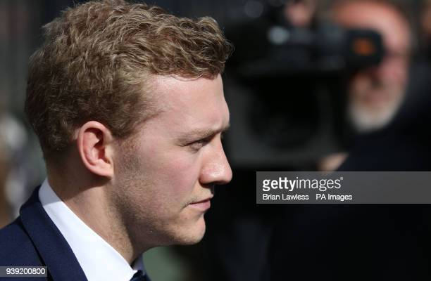 Ireland and Ulster rugby player Stuart Olding leaves Belfast Crown Court after he was found not guilty of raping a woman at a property in south...