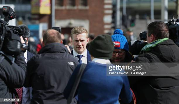 Ireland and Ulster rugby player Stuart Olding leaving Belfast Crown Court after he has been found not guilty of raping a woman at a property in south...